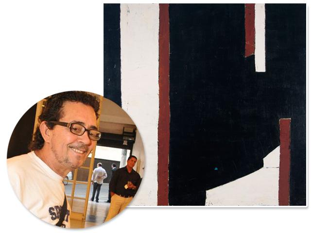 José Bernnô e a tela que passa a fazer parte do acervo da Pinacoteca de SP  ||  Créditos: Fernando Godoy / Divulgação