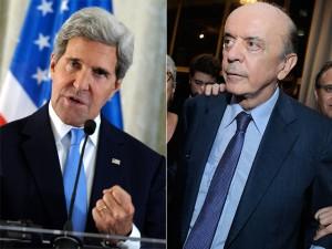 """Serra se encontra com John Kerry e recebe um """"gracias"""" em vez de """"obrigado"""""""
