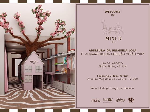 Convite da inauguração da Mixed Kids no Shopping Cidade Jardim