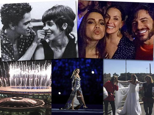 Acima, Caetano Veloso e Gal Costa e Anitta e Carolina Ferraz. Abaixo, a cerimônia de abertura das Olimpíadas do Rio, Gisele Bündchen e Mariana Ximenes || Créditos: Reprodução Instagram/Getty Images