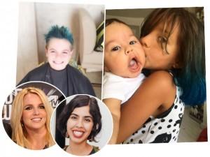 Filhos de Bela Gil e Britney Spears aderem ao cabelo azul
