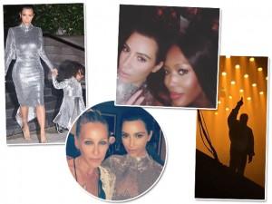 Kim Kardashian e North West vão a show de Kanye West vestidas iguais