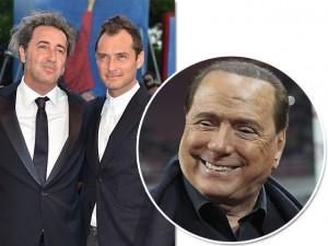 Paolo e Jude Law à esquerda, Berlusconi a direita