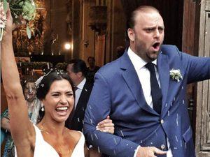Fabiana Preti e Marco Misasi se casam em castelo medieval na Itália