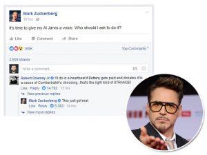 Robert Downey Jr. se candidata a vaga anunciada por Zuckerberg no Facebook