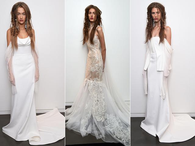 Três looks da coleção Bridal 2017 da estilista Vera Wang