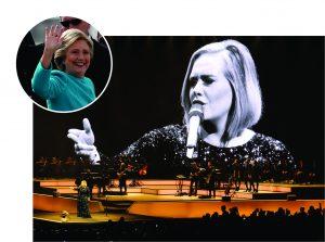 Adele durante show em Miami, e Hillary Clinton || Créditos: Getty Images