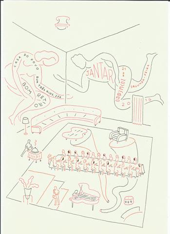 Detalhe do convite criado pelo artista Marcelo Cipis