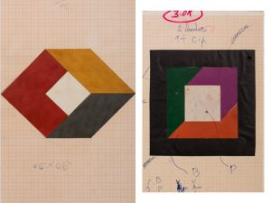 """Duas telas da exposição """"Geraldo Industrial"""", de Geraldo de Barros"""