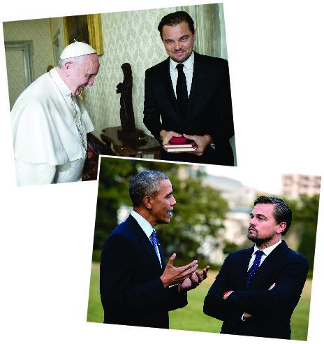 Dicaprio, com o Papa Francisco e Barack Obama || Créditos: Divulgação/National Geographic Channel