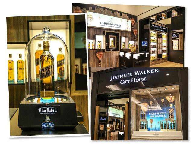 Detalhe do interior e fachada da pop up store que a Johnnie Walker inaugurou dentro do Shopping Cidade Jardim