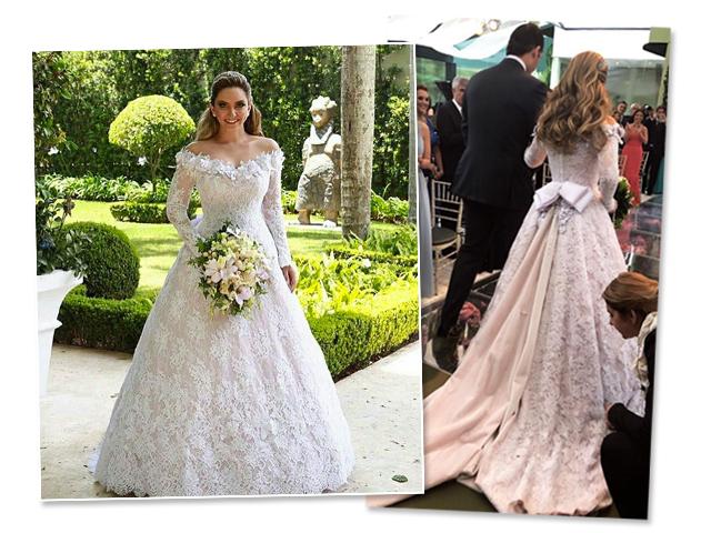 Lelê Saddi se casou no último sábado usando um vestido criado por Sandro Barros. No detalhe ela e o noivo Renato Azevedo no altar    Créditos: Reprodução / Instagram