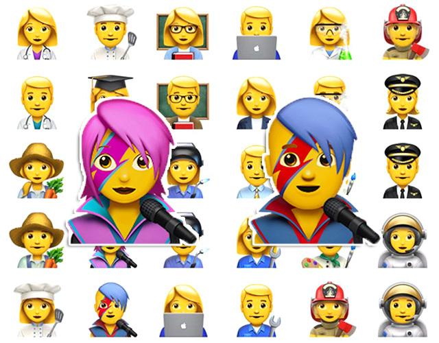 Os novos emojis de profissões + David Bowie. Cool!    Créditos: Divulgação