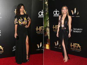 Dupla floral + preto dominou o red carpet do Hollywood Film Awards
