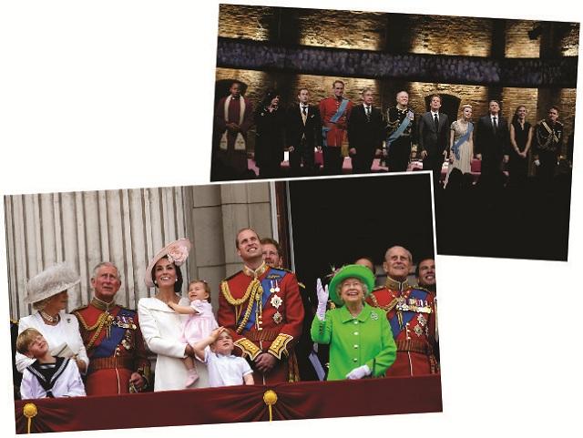 Atores da peça inglesa de 2014 (no topo), e a família real || Créditos: Getty Images