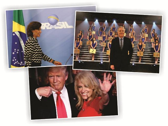 2017 será deles: no topo, Maria Silvia (esquerda) e Justus (direita), e Trump com Kellyanne