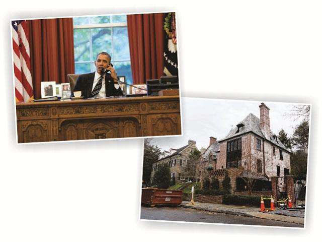 Obama no Salão Oval e a casa em Kalorama, em Washington, D.C.