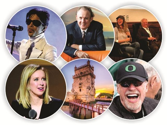O ano em PODER: em sentido horário, Prince (no topo), Grendene, Gisele e Lemann, Knight, Lisboa e Holmes || Créditos: Getty Images