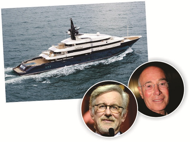 O mega-iate 'Seven Seas', Steven Spielberg e David Geffen || Créditos: Getty Images