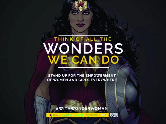 Poster da campanha da ONU com a Mulher Maravilha