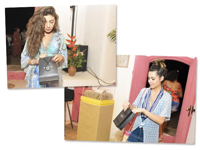 Marcella Maria e Anna Barroso com gifts Amaro