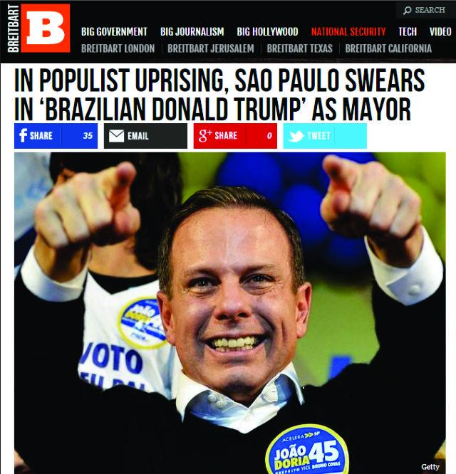O novo prefeito de SP no Breitbart News || Créditos: Reprodução/Breitbart News
