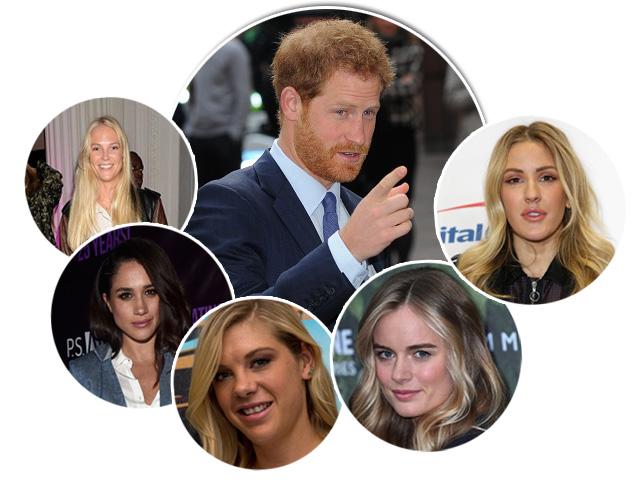Harry e suas pretendidas: da esquerda para a direita, Lady Natasha, Meghan, Chelsy, Cressida e Ellie
