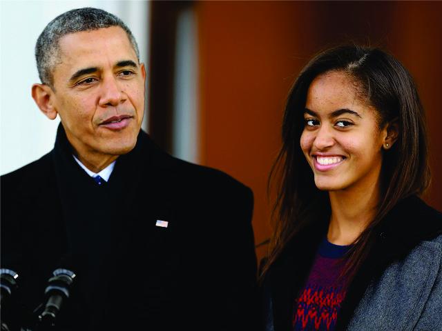 Obama com a primogênita, Malia