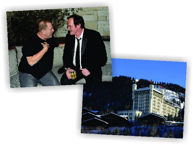O produtor Harvey Weinstein e Tarantino, e o hotel onde eles estão hospedados    Créditos: Getty Images