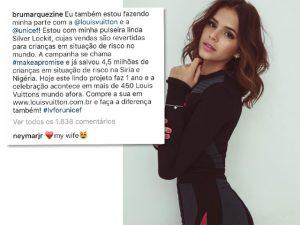 "Neymar se declara para Bruna Marquezine no Instagram: ""My wife"""