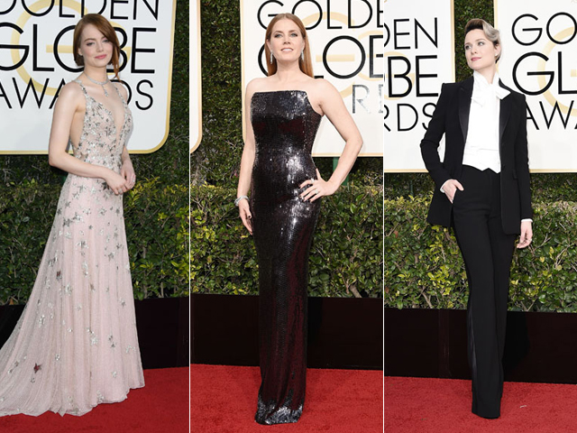 Emma Stone, Amy Adams e Evan Rachel Wood no red carpet do Globo de Ouro 2017 || Créditos: Getty Images