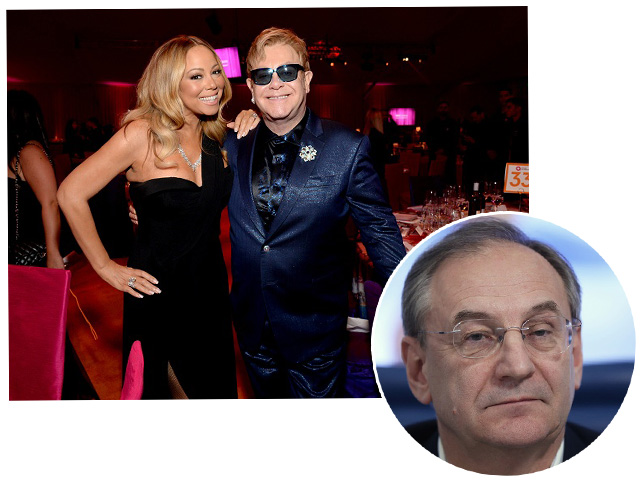 Mariah Carey com Elton John, e Valery Kogan || Créditos: Getty Images