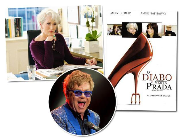 """Meryl Streep como Anna Wintour, o cartaz do filme """"O Diabo Veste Prada"""" e Elton John"""