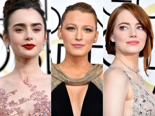 Lily Collins, Blake Lively e Emma Stone arrasaram na make do Golden Globes 2017