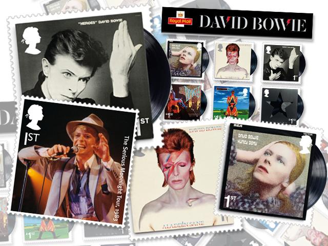 Os dez selos criados pela Royal Mail em homenagem a David Bowie    Créditos: Divulgação
