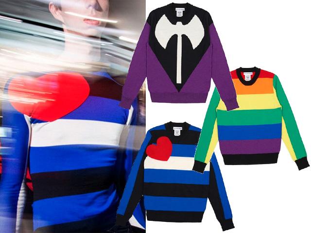 Detalhe dos três suéteres criados por Vetements e Comme des Garçons || Créditos: Divulgação
