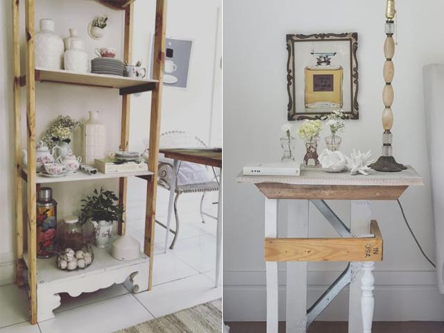 Detalhe da Mesa de cabeceira, peça única; e Estante Z2, ambas projeto do Studio Green Lab, de Sergio De Divitiis || Créditos: Reprodução / Instagram