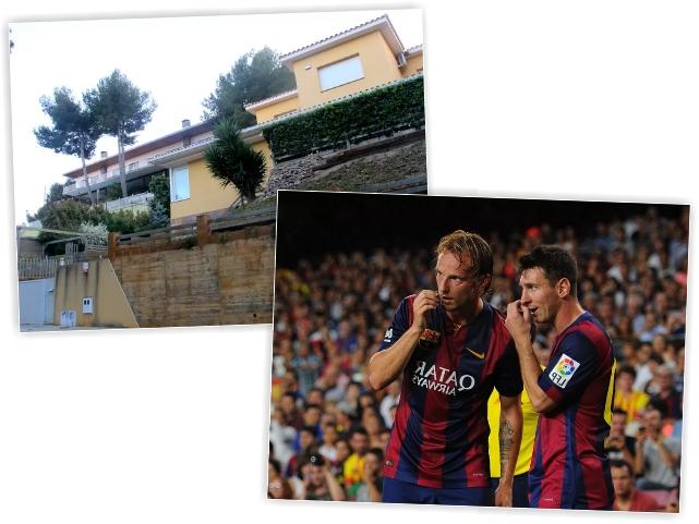 A casa de Messi em Barcelona, e o argentino com o colega Rakitic || Créditos: Getty Images/Reprodução
