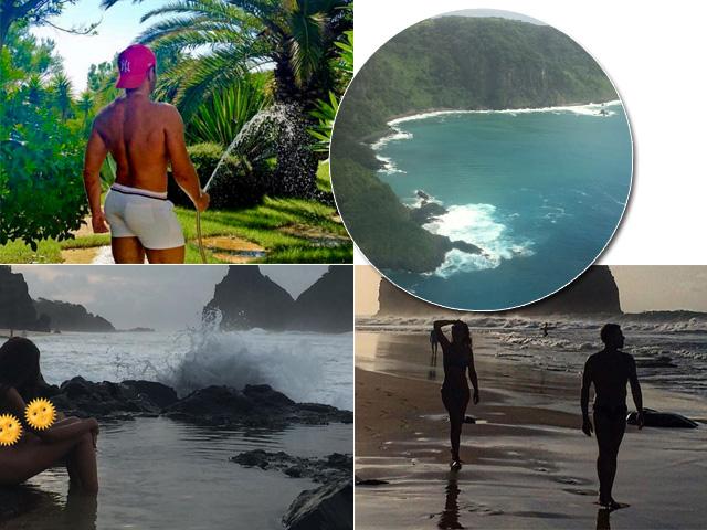 Mert Alas está em Fernando de Noronha, um clique da ilha, Lea T. e seu mergulho e o fotógrafo com a amiga Ceyda Balaban    Créditos: Reprodução Instagram