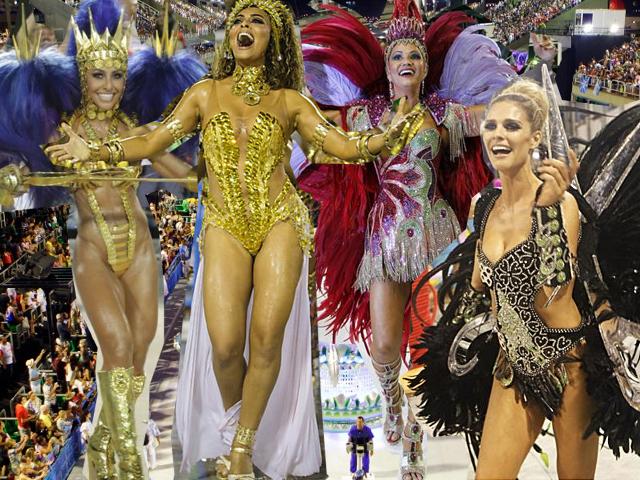 Sabrina Sato, Juliana Paes, Fernanda Lima e Luiza Brunet não dispensam o salto nos desfiles || Créditos: Agnews/Divulgação