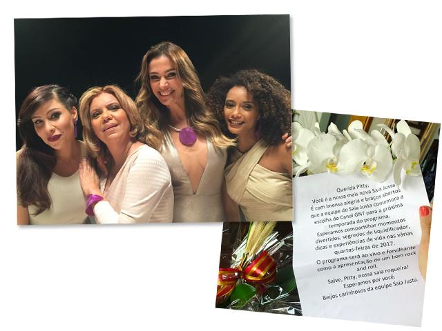 Pitty, Astrid, Mônica Martelli e Taís Araújo; e a carta e flor que Pitty recebeu da produção do programa || Créditos: Reprodução Instagram