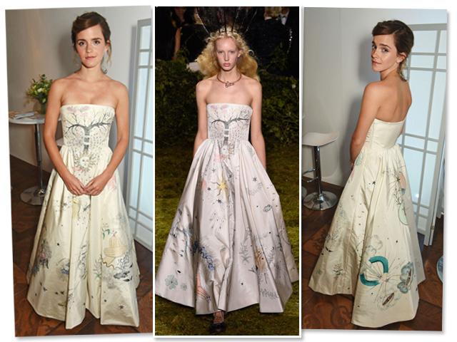 Emma Watson e o modelito Dior que apareceu no desfile da maison