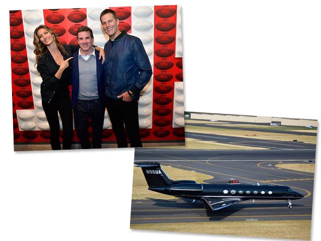 Gisele e Tom com Kevin Plank, e o jatinho do bilionário || Créditos: Getty Images/Reprodução