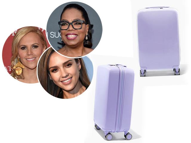 Em sentido horário: Tory Burch, Oprah Winfrey e Jessica Alba, e a mala da Raven || Créditos: Getty Images/Divulgação
