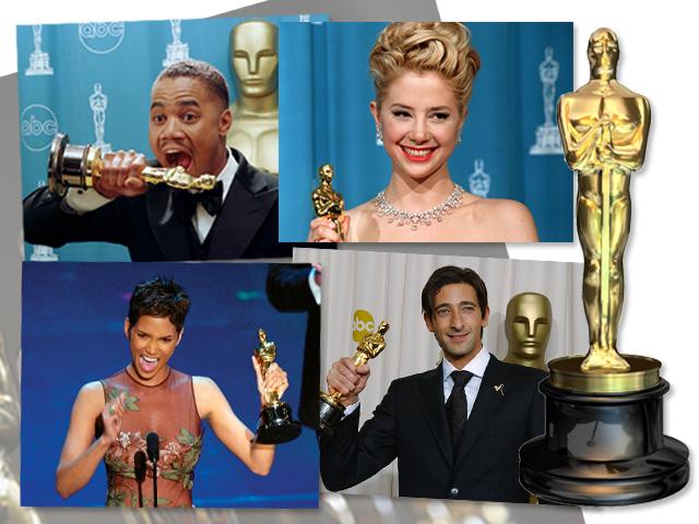 Em sentido horário: Cuba Gooding Jr., Mira Sorvino, Adrien Brody e Halle Berry || Créditos: Getty Images
