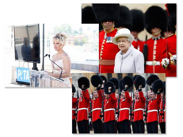 Pamela Anderson, e a rainha com sua Guarda Real || Créditos: Getty Images