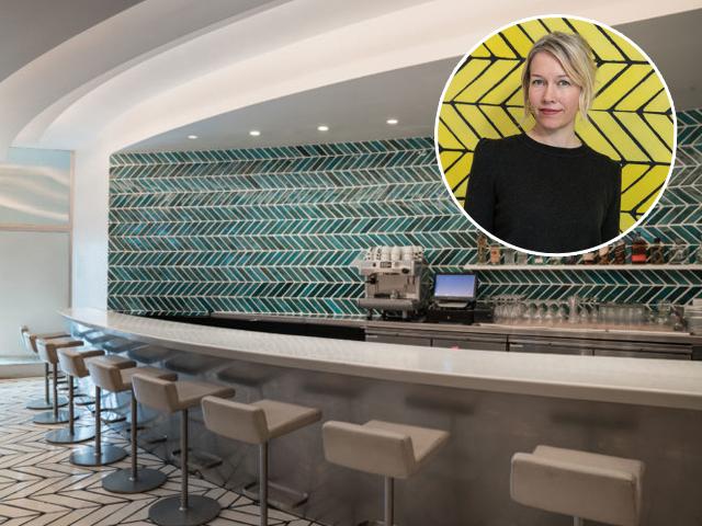 Sarah Crowner e outro painel criado por ela para o Wright Restaurant || Créditos: Divulgação