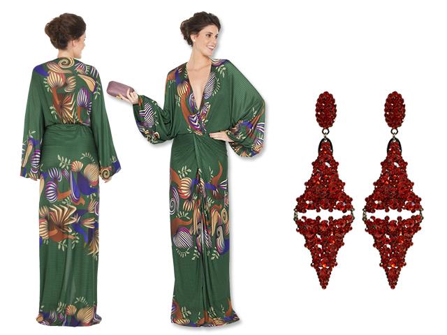 Vestido Adriana Barra para a Dress&Go e brincos Leticia Sarabia    Créditos: Reprodução