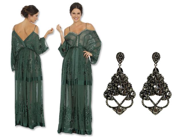 Vestido Helô Rocha para a Dress&Go e brincos Leticia Sarabia    Créditos: Reprodução
