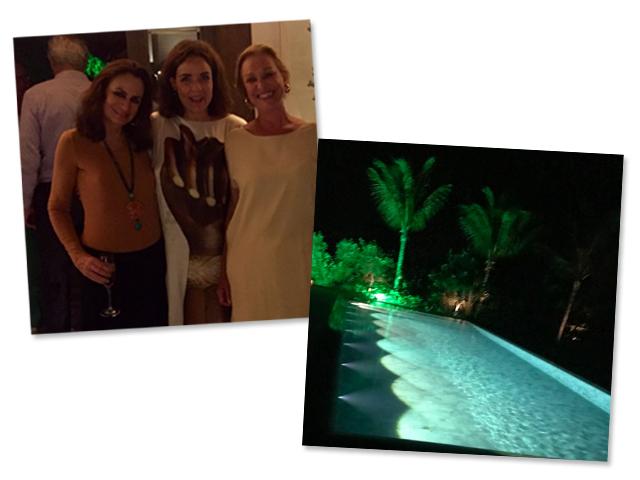 Georgina Brandolini com Fatima Scarpa e Sabine Lovatelli e a piscina da casa instalada na Praia Do Rio Da Barra em Trancoso || Créditos: Reprodução Instagram